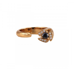 La Vie en Rose, Tatum Ring Gold Hematite White CZ