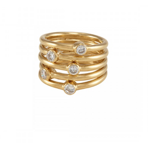 La Vie en Rose, Ellen Ring Gold White CZ
