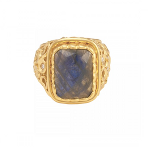 La Vie en Rose, Wally Ring Gold Labradorite White CZ