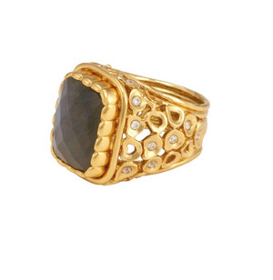 Wally Ring Gold Labradorite White CZ