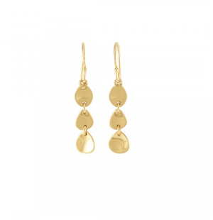 La Vie en Rose, Triple Pod Drop Earrings Gold 14K