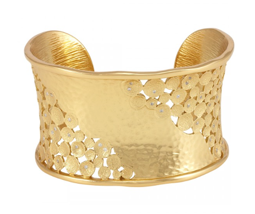 La Vie en Rose, Kate Cuff Gold White Cubic Zirconia CZ