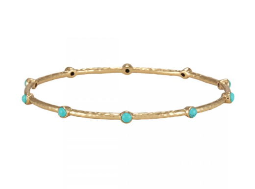 La Vie en Rose, shank, Ellen 2 Bangle Gold Turquoise 14K