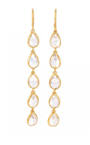 La Vie en Rose, Leaf Drop Earrings Gold White Cubic Zirconia CZ