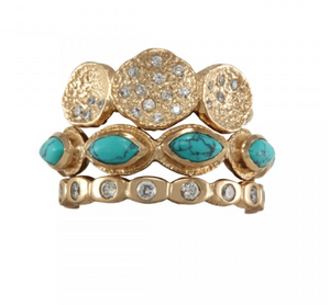 La Vie en Rose, Teeny Pod, Gwyneth, Jennifer, Macbeth Ring Stack Gold Turquoise White Cubic Zirconia CZ