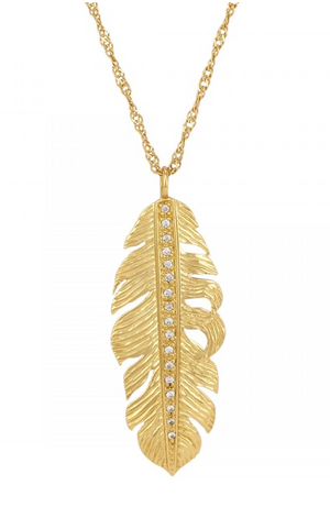 La Vie en Rose, pendant, Nina Feather Necklace Gold White CZ