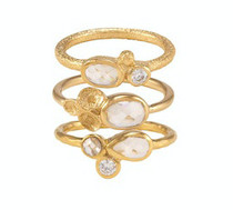 Autumn Ring Stack Gold White CZ