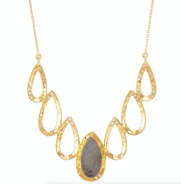 Dorothy necklace gold labradorite white cz