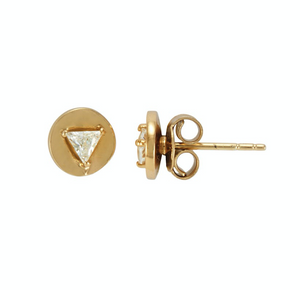 Joan Pod Studs Gold White CZ