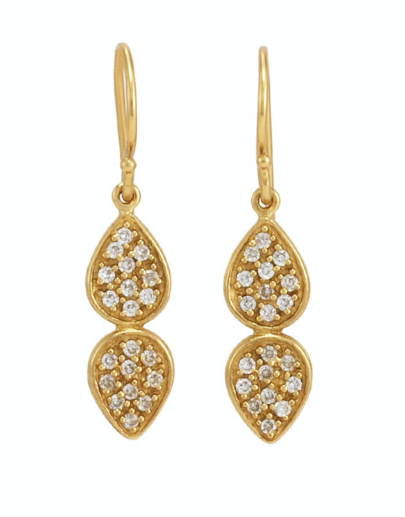 June pave earrings gold white cz