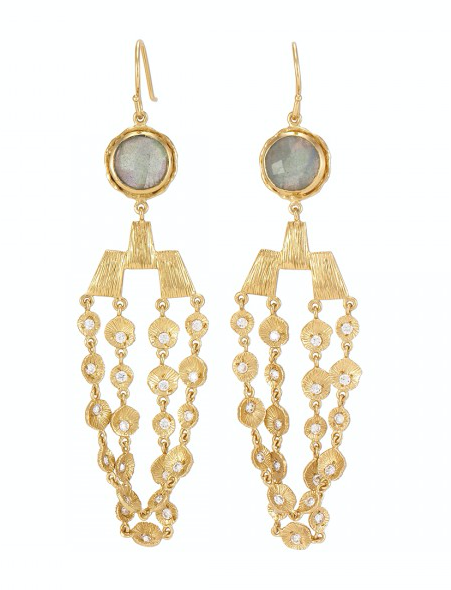Kristina Earrings Gold Labradorite White CZ