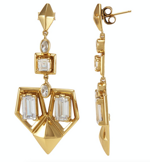 Lena Drop Earrings Gold White CZ