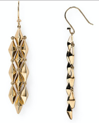 Pyramid chandelier earrings gold