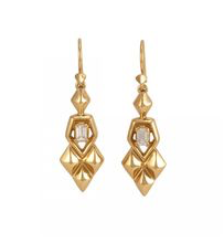Reese Drop Earrings Gold White CZ
