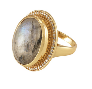 Anthony Cocktail Ring Gold Labradorite White CZ