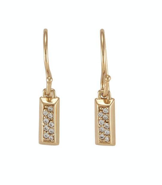 Ava Pave Earrings Gold White CZ