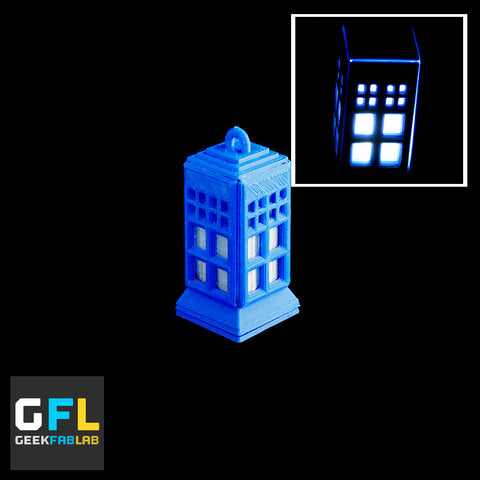 3D Printed Glowing Tardis LED Pendant