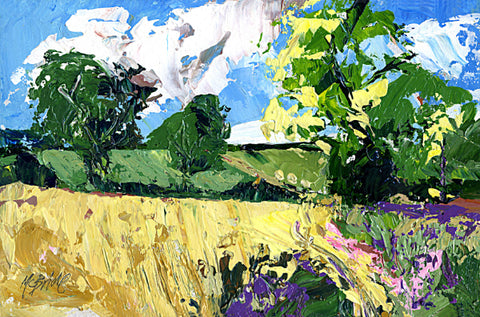 Landscape paintings like this one, titled Whinny Bank, are for sale direct from the studio of UK artist Neil McBride