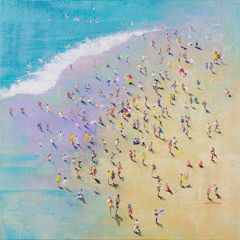 Skinny Dipping - a McBride original acrylic crowd painting of people on a beach.
