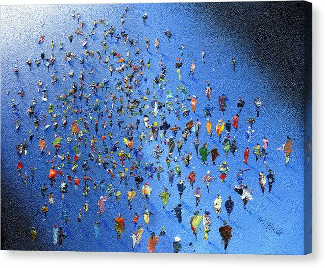 Music festival art like this crowd of music lovers on a Canvas Print - Neil McBride Art