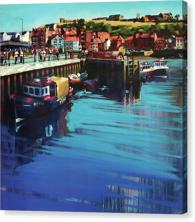 Canvas print of Whitby New Quay on the Yorkshire coast from an original painting by Yorkshire artist Neil Mcbride. © Neil Mcbride 2018