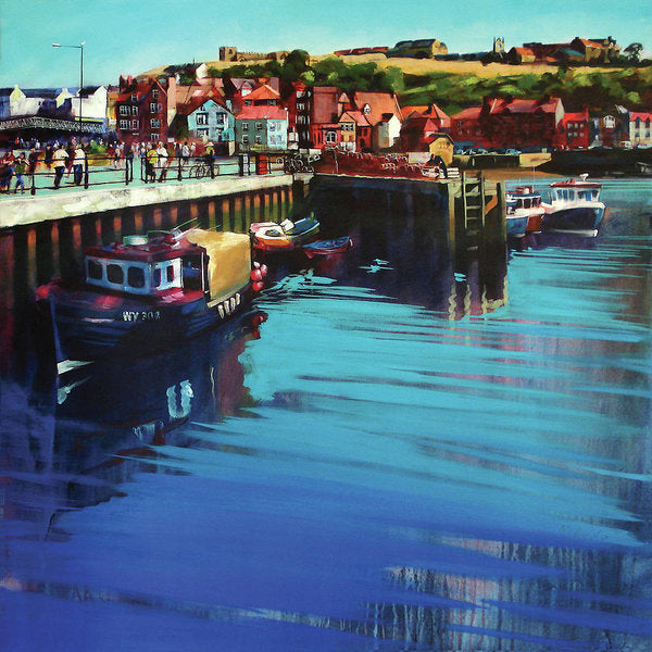 Art print on paper of Whitby New Quay on the Yorkshire coast from an original painting by Yorkshire artist Neil Mcbride. © Neil Mcbride 2018