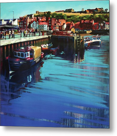 Metal print of Whitby New Quay on the Yorkshire coast from an original painting by Yorkshire artist Neil Mcbride. © Neil McBride 2019