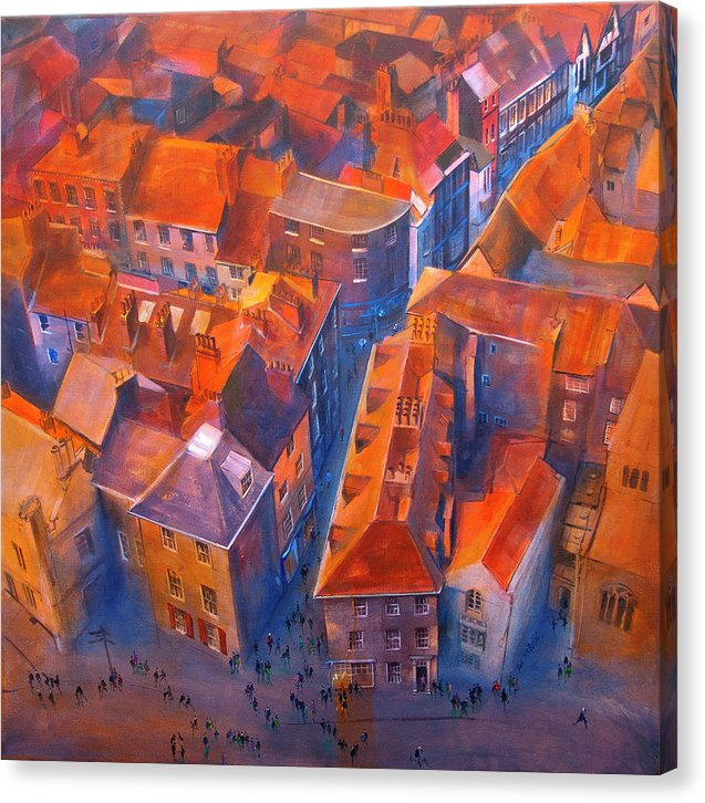 Yorkshire art like this dramatic artwork of the rooftops of York are available to buy on canvas from the studio of Neil McBride