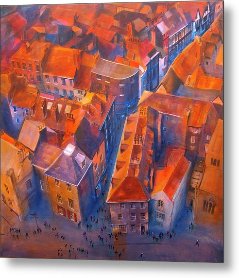 York Minster Yard looking down from the tower onto the crowds of people and roofs of York below. All captured on a metal print © Neil McBride 2019