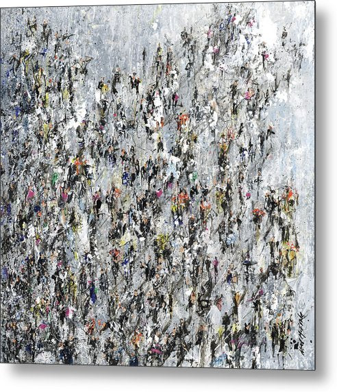Crowds of people Braving the Elements artwork on aluminium metal by Neil mcbride