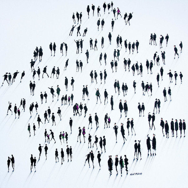 An art print on paper showing a crowd of people forming a queue. © Neil McBride 2020