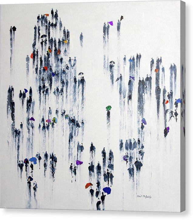 Crowd of people art on canvas by British visual artist Neil McBride