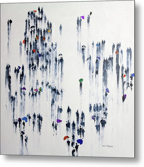 Crowd of people with umbrellas in the rain by Neil McBride