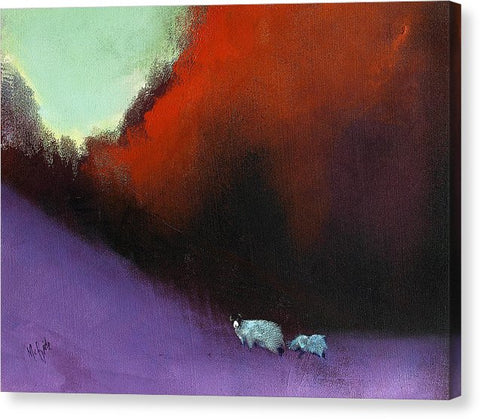 Heathland Sheep - Canvas Print in Japanese inspired colours. - Neil McBride Art