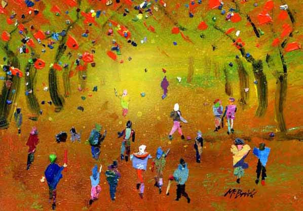 Autumn Walk in the Woods, Signed Limited Edition Art Print by British crowd painter Neil McBride