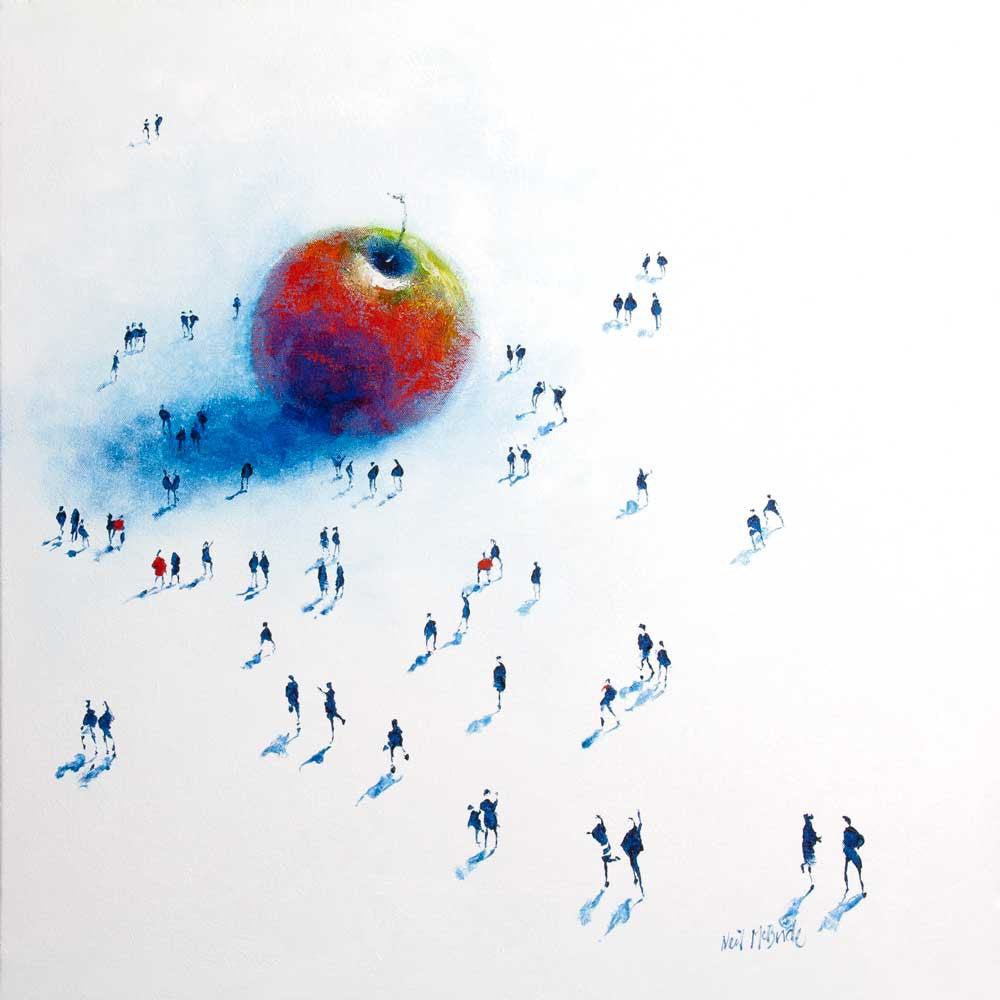 Original painting of a crowd of people milling around a big apple - by British visual artist Neil McBride