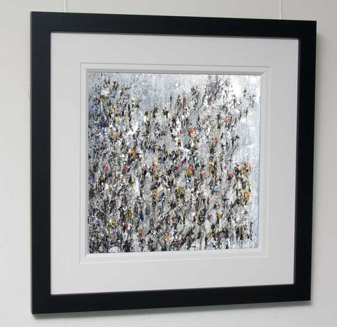 A framed original crowd art painting by Yorkshire based artist Neil McBride
