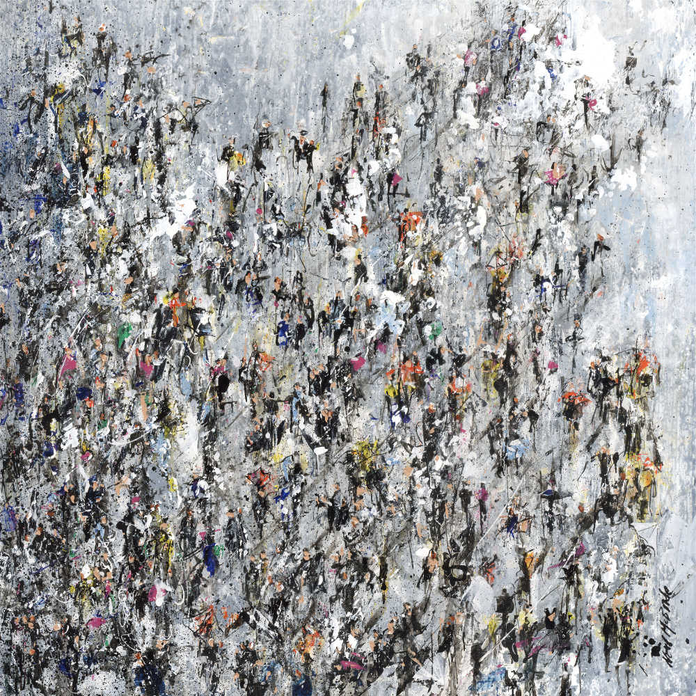 original painting of a crowd of people from the studio of Neil McBride.