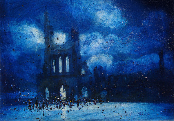 Byland Abbey Gathering at night - Limited Edition Art Print featuring a crowd of people gathered around the abbey.
