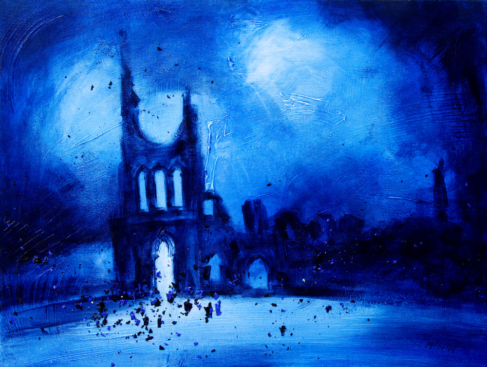 Byland Abbey Revisited - A Yorkshire art original painting from the studio of Neil McBride .