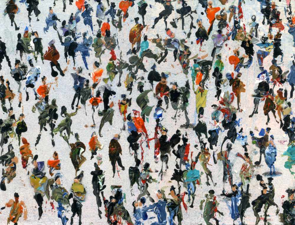 Crowds art titled Covert Meeting © Neil McBride 2019.  #artistsupportpledge