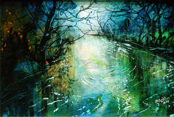 Deep River Pool, Limited Edition Art Print by Yorkshire landscape painter Neil McBride