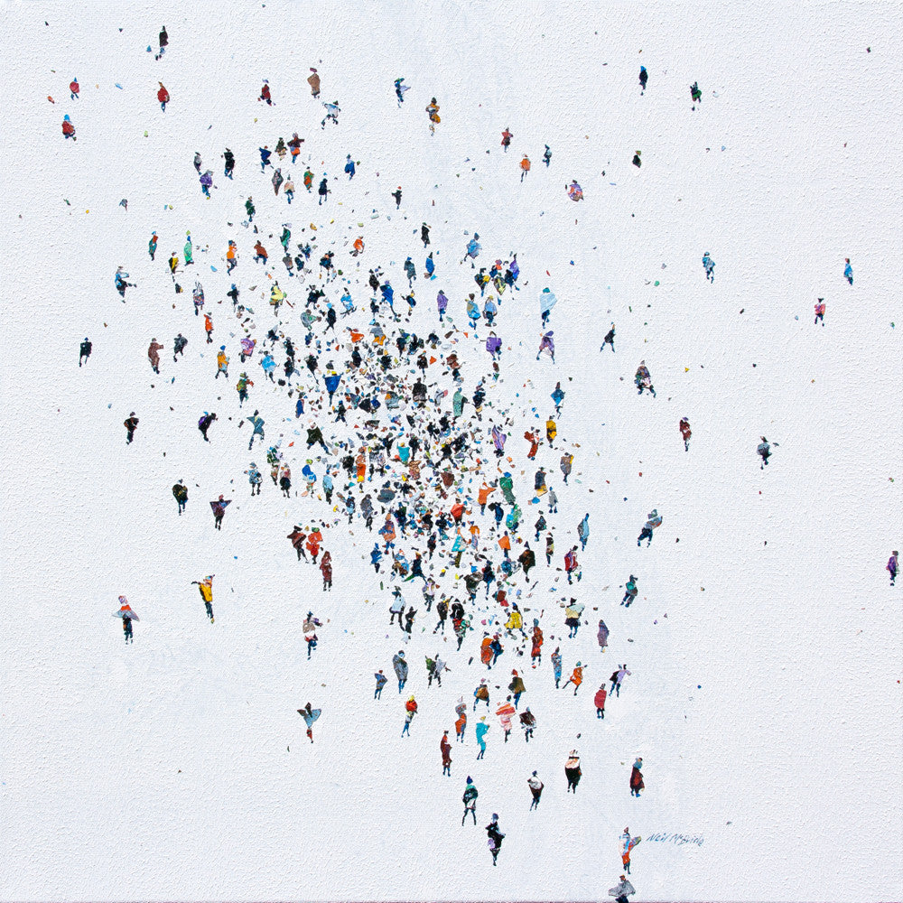 Dispersion is an original painting on canvas featuring a crowd of people © Neil McBride 2019