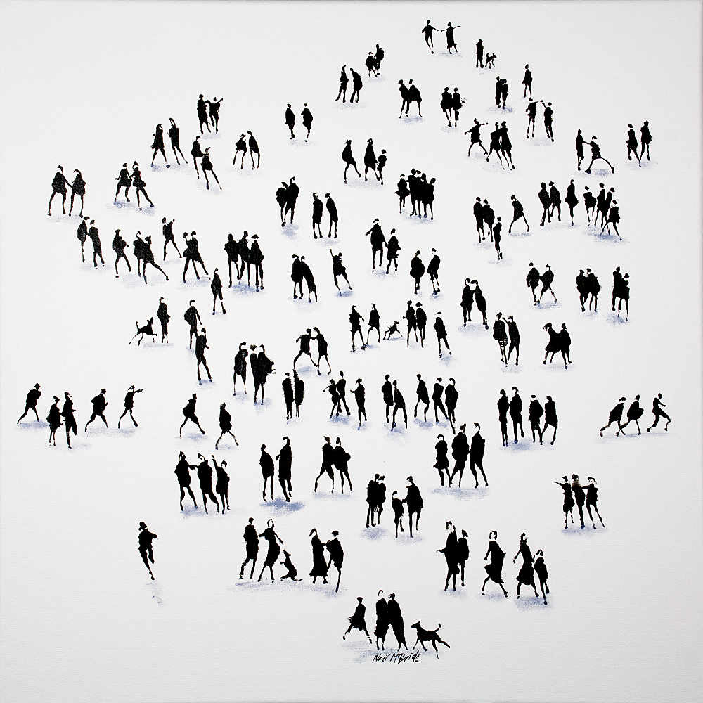 Dog themed silhouette art crowd on canvas by © Neil McBride 2020