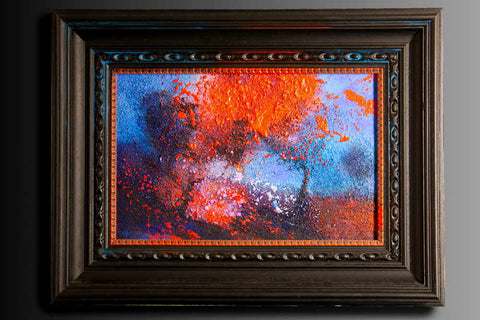 Flame Tree original contemporary landscape painting in hand tinted wood frame by Neil McBride