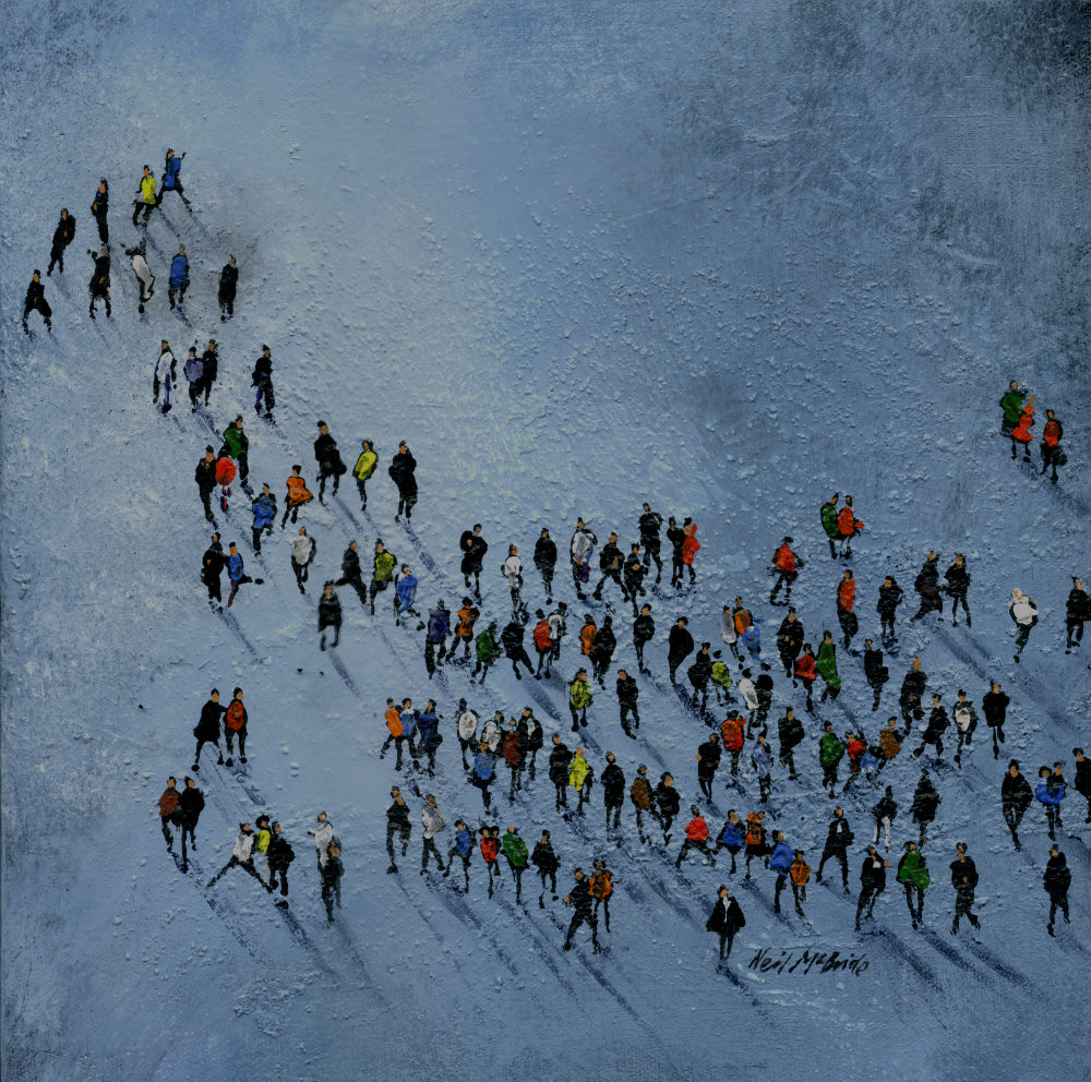 Grey Pool Crowd original painting by Yorkshire based artist Neil McBride