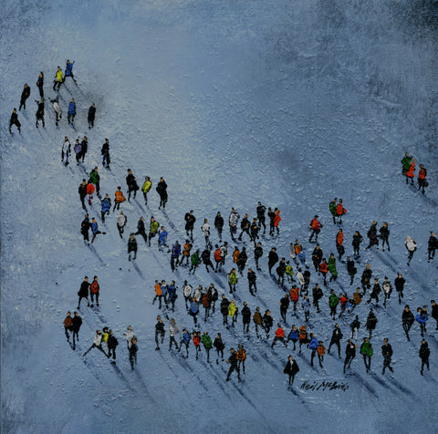 Grey Pool Crowd original painting