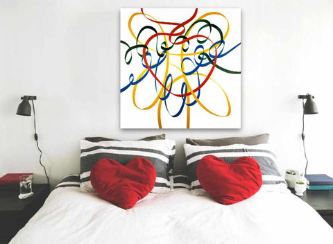 Heart painting displayed in a romantic bedroom setting © Neil McBride 2019