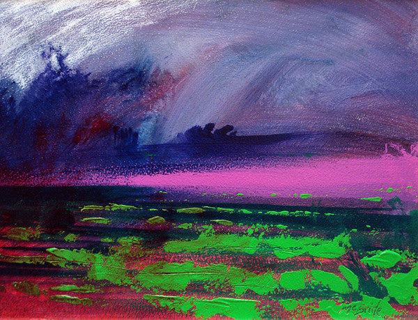 A colourful landscape painting by English artist Neil McBride. Titled, Heather Weather, the artwork is inspired by the English countryside.