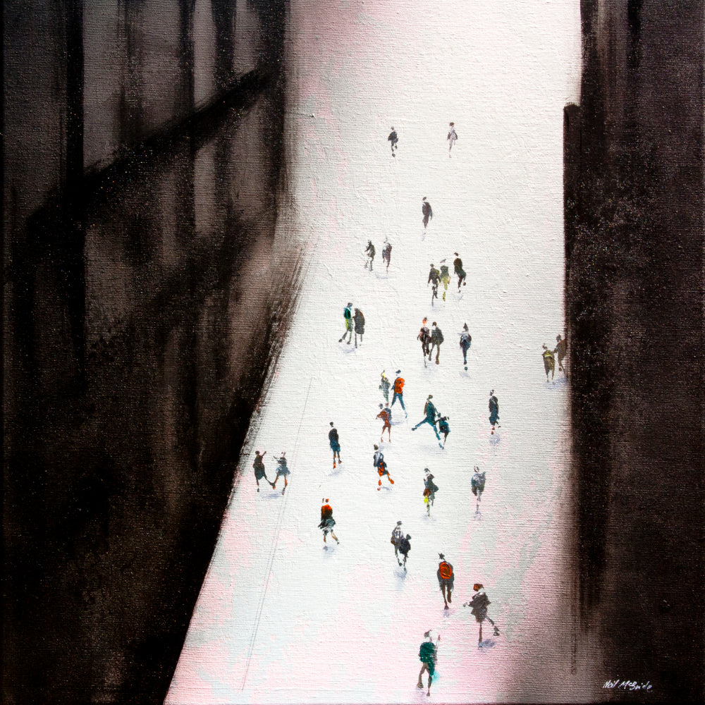 Lost in Franz is an expressive original painting on canvas featuring a crowd of people in a semi-abstract city street. © Neil McBride 2019